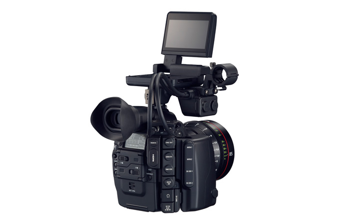 Cinema EOS C500 digital cinematography camera - back view with monitor