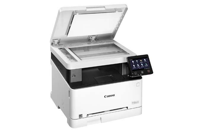 Color imageCLASS MF641Cw multifunction laser printer - glass platen open