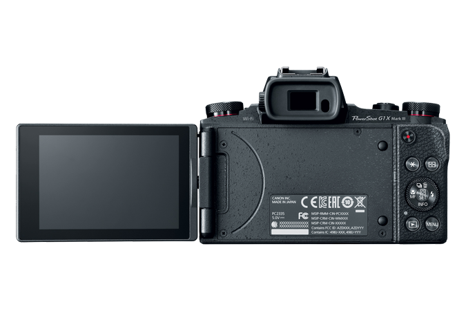 PowerShot G1 X Mark III back with open lcd