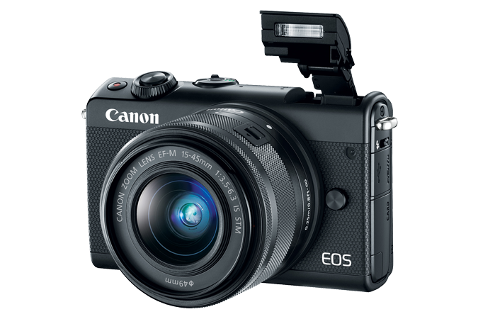 EOS M100 EF-M 15-45mm IS STM Black Lens Kit with Flash