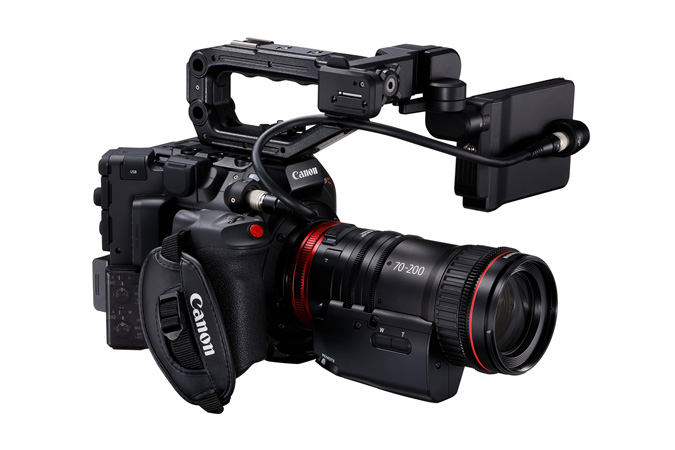 Canon C300 Mark III - Front Side Right with Cine-Servo 70-200mm and LCD on Side