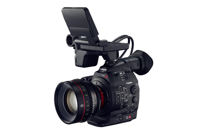 Cinema EOS C500 digital cinematography camera - 3/4 view with monitor