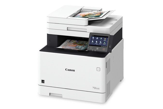 Color imageCLASS MF743Cdw multifunction laser printer - 3/4 angle view with printouts