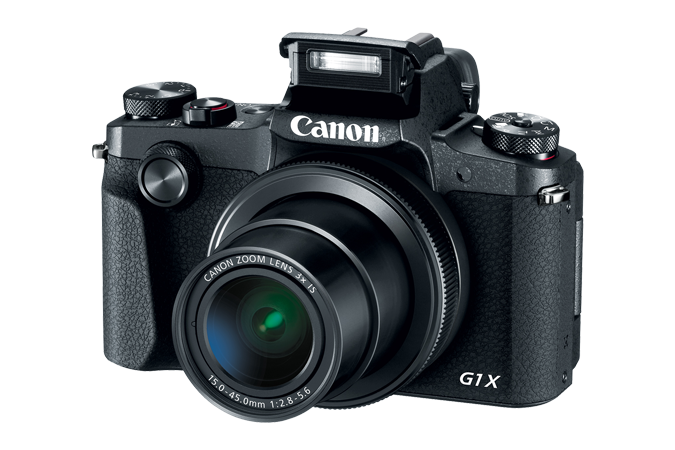 PowerShot G1 X Mark III with open flash