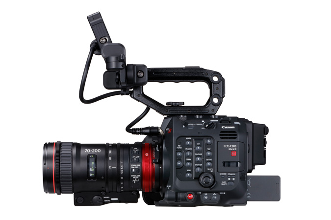 Canon C300 Mark III - Side Right with Cine-Servo 70-200mm and LCD