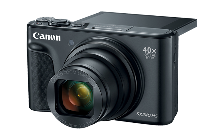 PowerShot SX740 HS (Black) with LCD Open at 90 Degrees