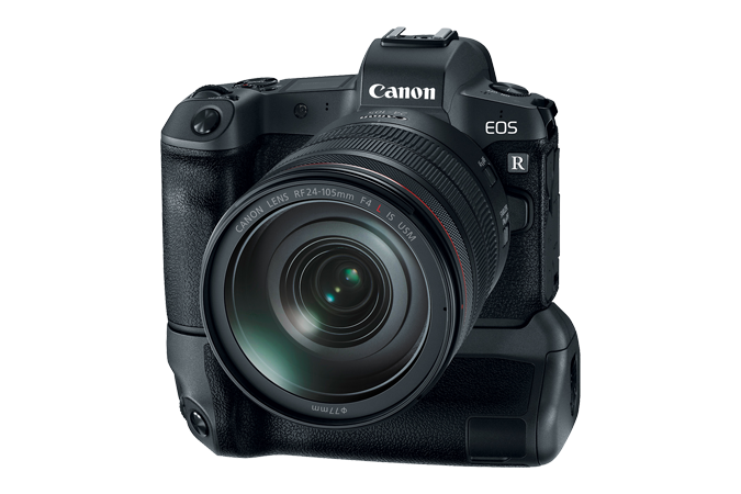 EOS R attached with Battery Grip