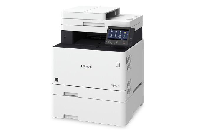 Color imageCLASS MF743Cdw multifunction laser printer - 3/4 view with cassette