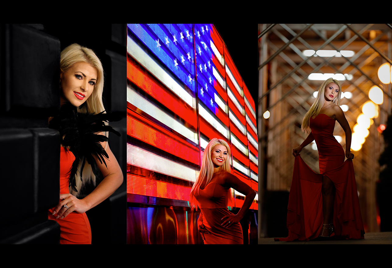side by side photos of woman in orange dress with an american flag in the center