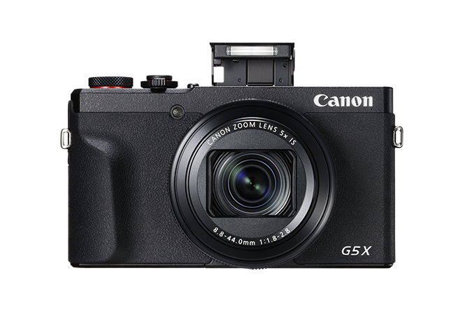 PowerShot G5 X Mark II - front view with flash open