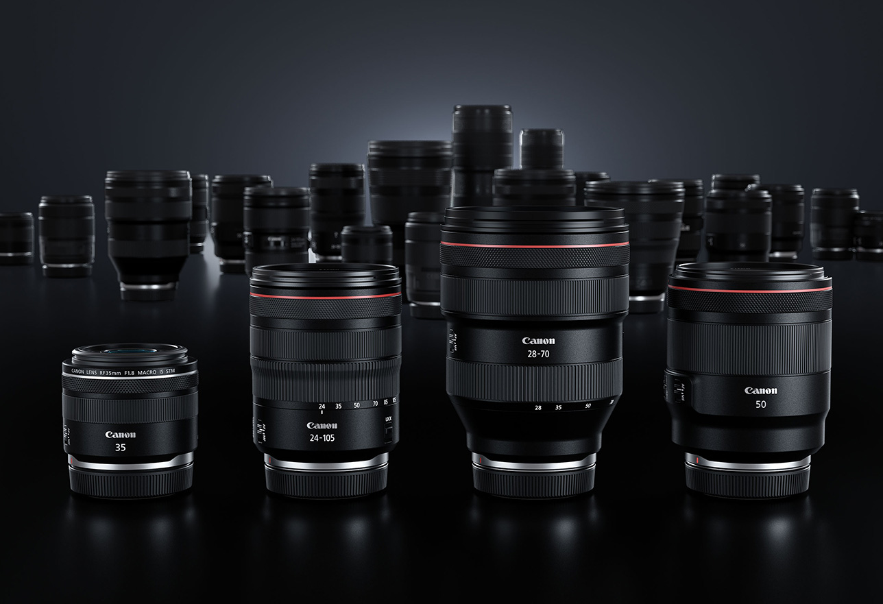 Line up of Canon lenses