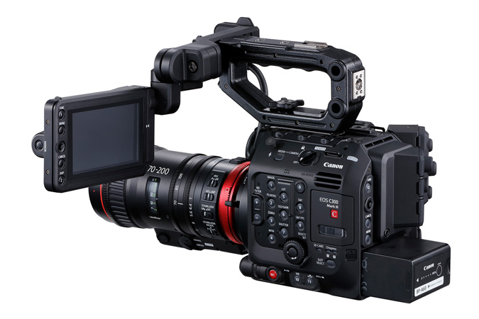 Canon C300 Mark III - Back Side Left with Cine-Servo 70-200mm and LCD on top
